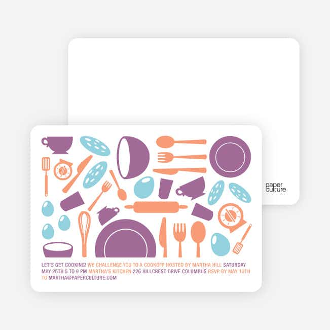 Iron Chef and Top Chef Party Invitations - Grape Cheesecake