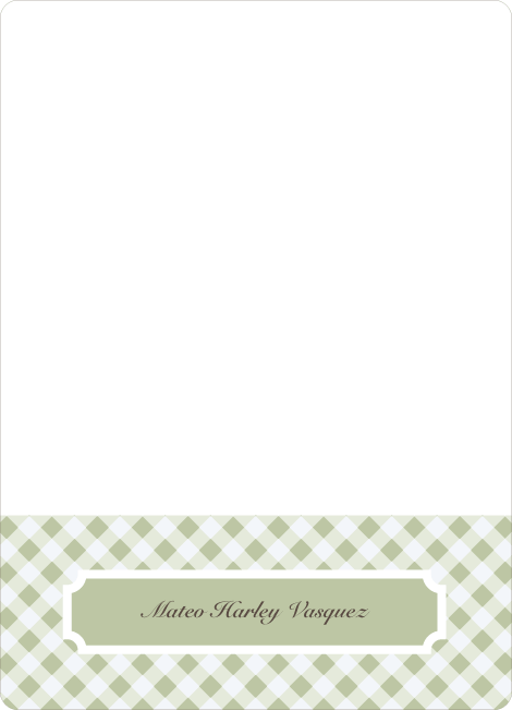Notecards for the 'Gingham Announcement' cards. - Light Sage