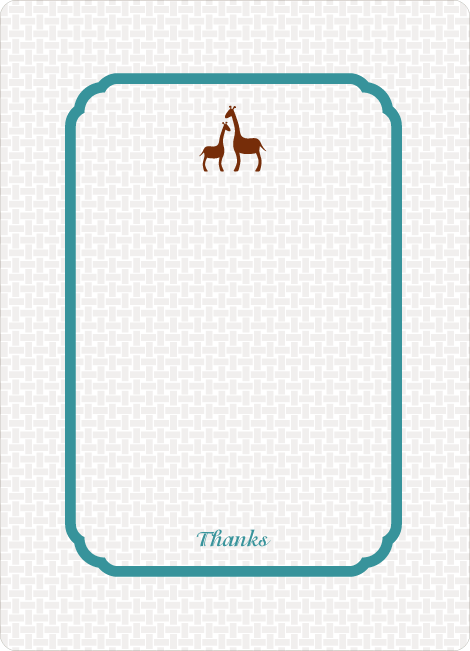 Thank You Card for Classic Giraffe Baby Shower Invitation - Teal