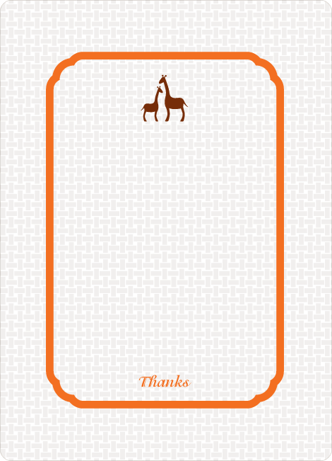 Thank You Card for Classic Giraffe Baby Shower Invitation - Carrot