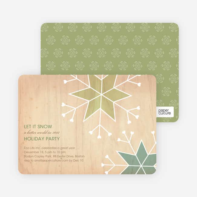 Let It Snow Snowflake Holiday Party Invitations - Lemongrass