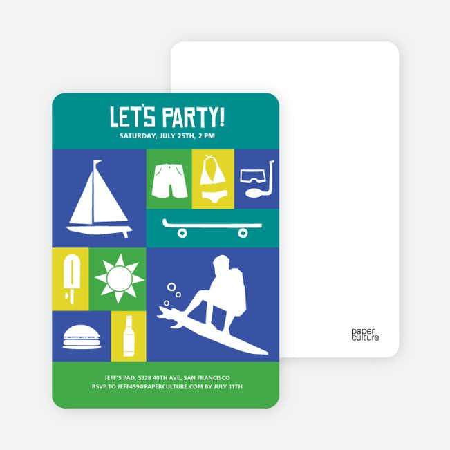 Let's Get this Party Started Invitations - Teal