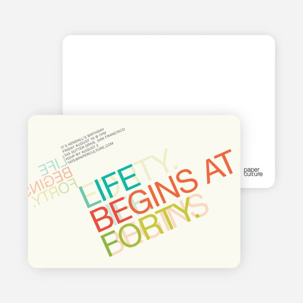 Life begins at forty 40th birthday invitations paper culture life begins at forty main filmwisefo