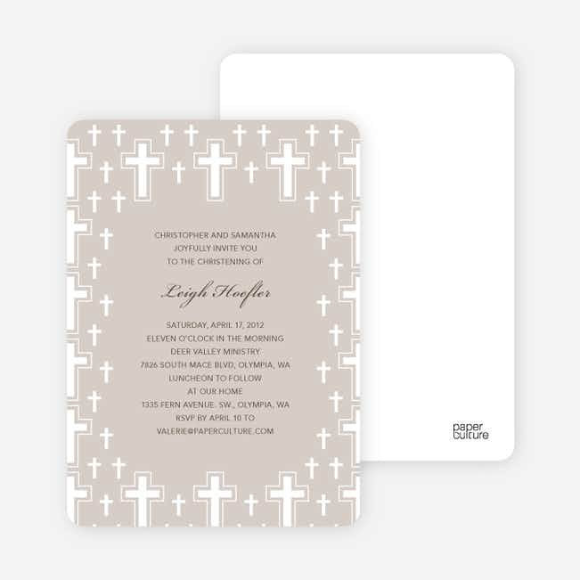 Light of the Cross Baptism and Christening Invitations - Gray