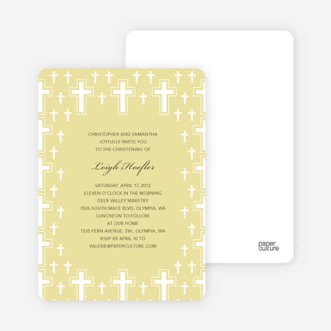 Light of the Cross Baptism and Christening Invitations - Yellow