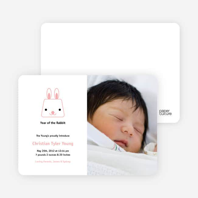 Little Baby Rabbit Rabbit Birth Announcements - Carnation