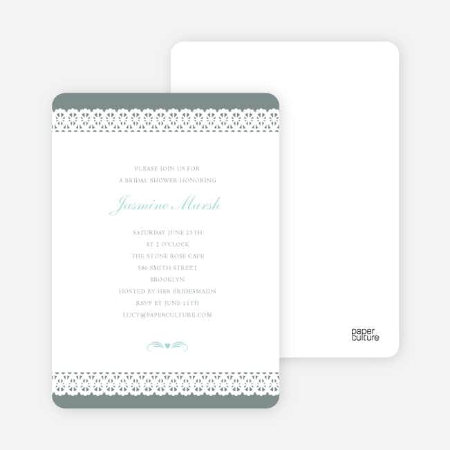 Lovely Lace Bridal Shower Invitations - Silver Silk