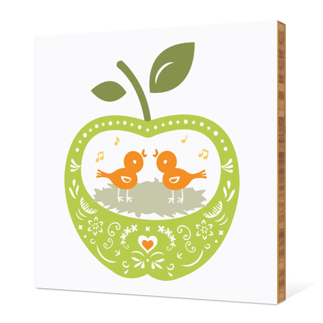 Appleseed Bird Tweets Bamboo Wall Art - Apple Green