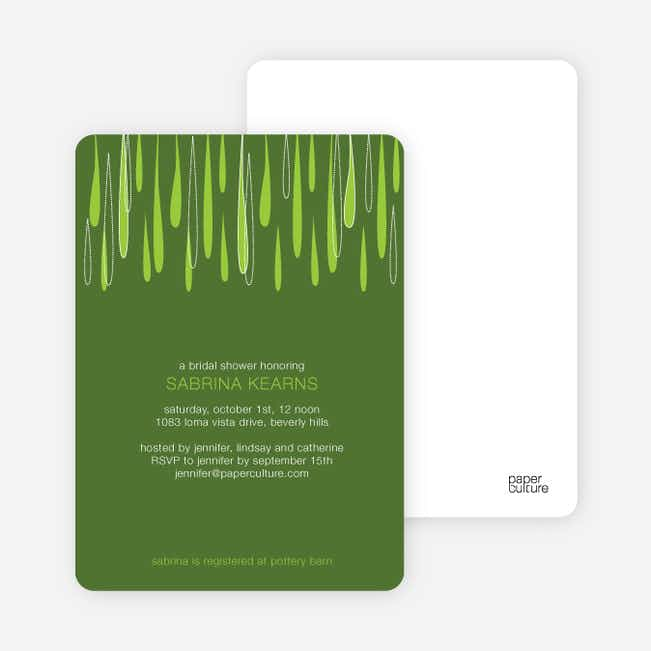 Mod Raindrop Shower Bridal Shower Invitations - Kale