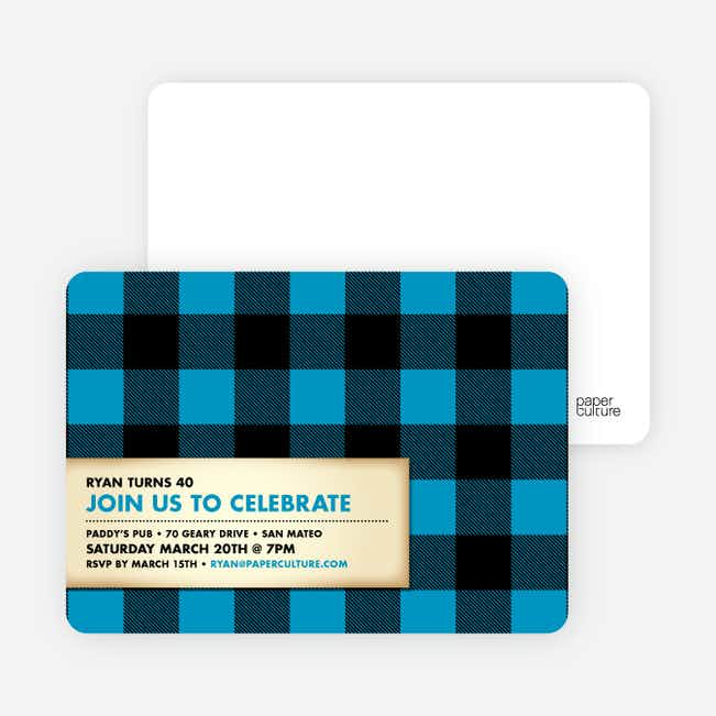 Modern Scottish Plaid Invitations - Cobalt Blue