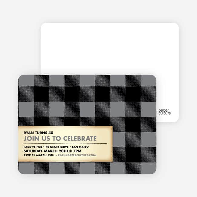 Modern Scottish Plaid Invitations - Silver