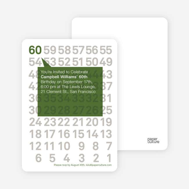 Modern Sixtieth Birthday Party Invitations - Lily Pad