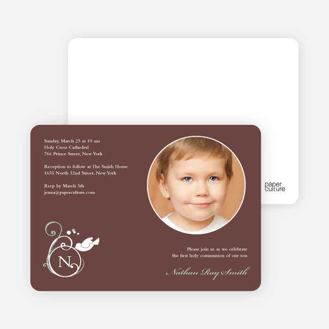 Monogrammed Dove Photo Cards for First Holy Communion Invitations - Mocha
