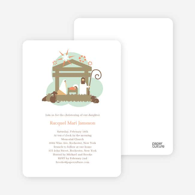 Nativity Scene Christmas Card - Olive