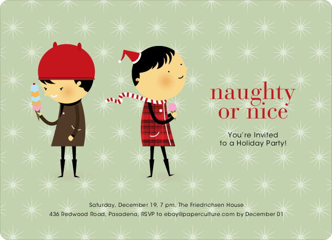 Naughty or Nice Holiday Party Invitations - Pistachio