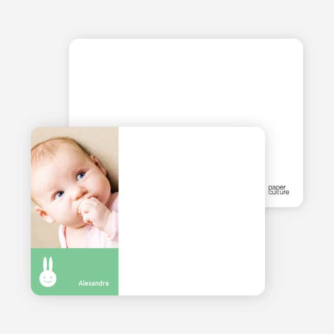 Not Bugs Bunny, Far Cuter Personalized Photo Card Stationery - Mint Green
