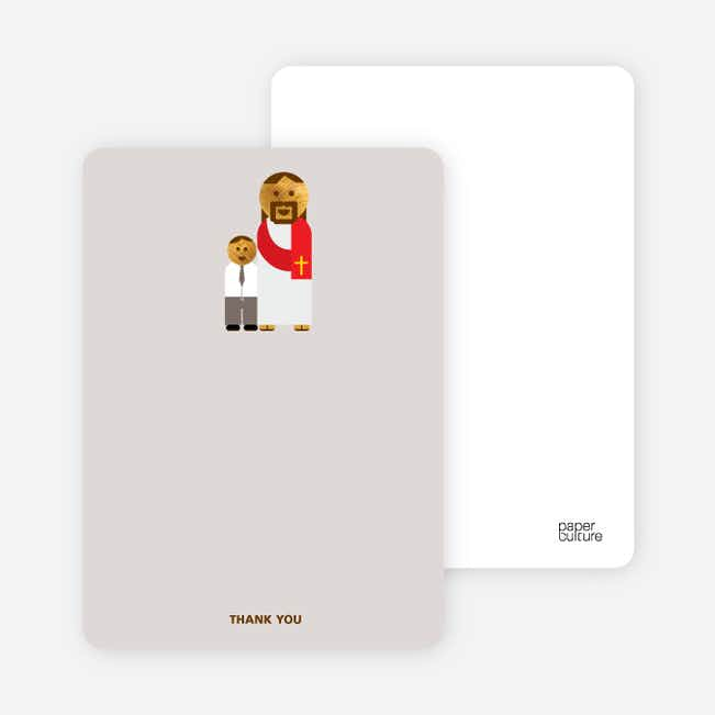 Note Cards: 'Jesus and Boy Baptism Invitation' cards. - Gray