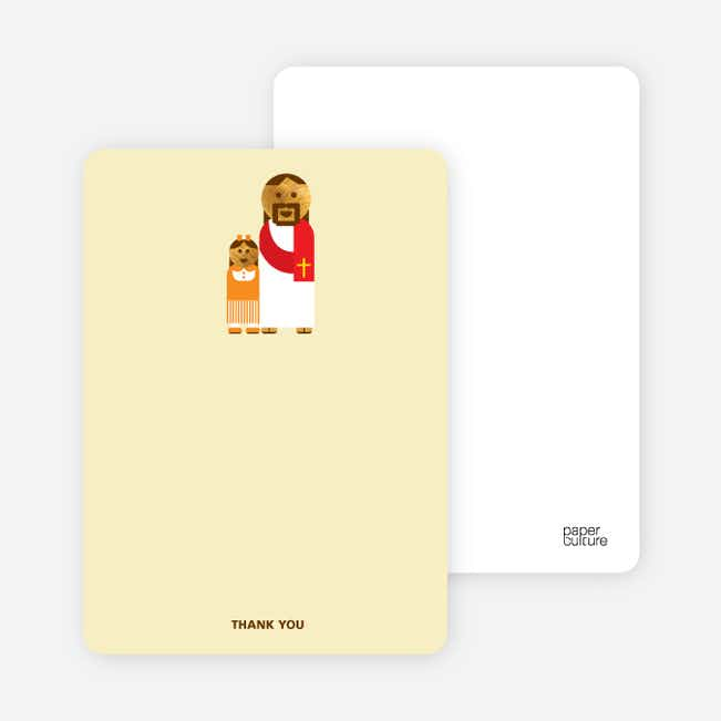Note Cards: 'Jesus and Girl Baptism Invitation' cards. - Pale Marigold