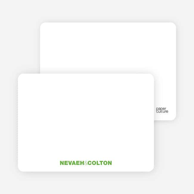 Notecards for the 'Twin Cradle Talk' cards. - Apple Green