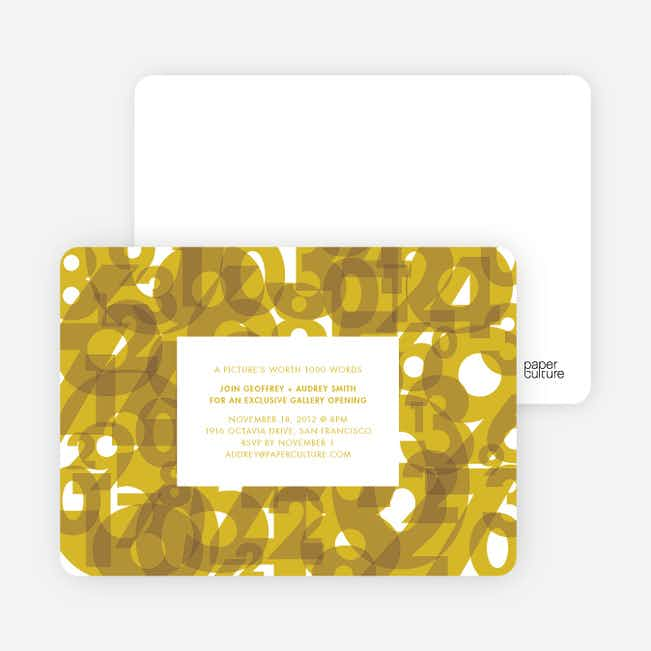 Number Chaos Party Invitations - Gold