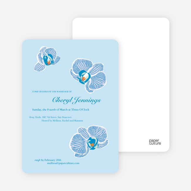Orchid Bridal Shower Invitations - Baby Blue