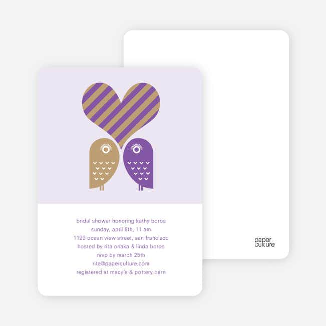 Owls in Love Bridal Shower Invitations - Grape