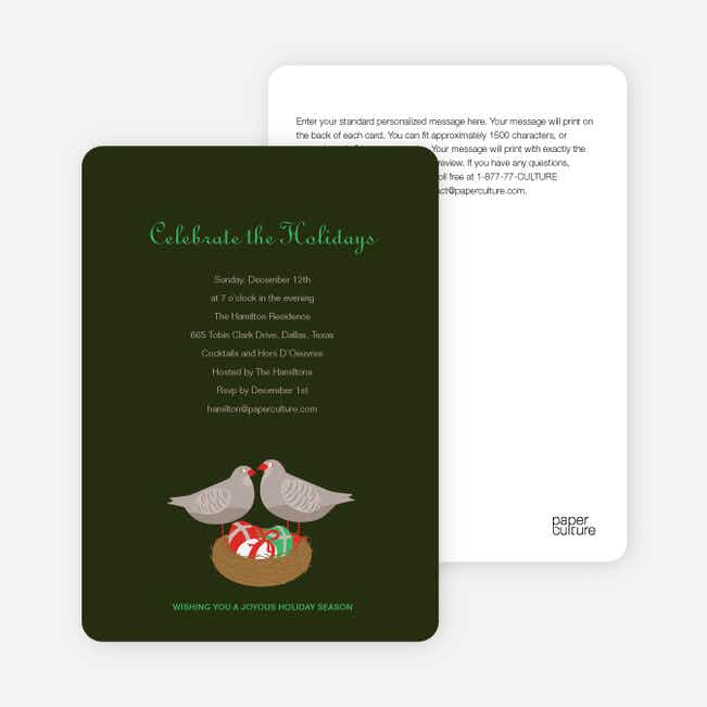 Patridge in a Pear Tree Holiday Invitations - Dark  Forest