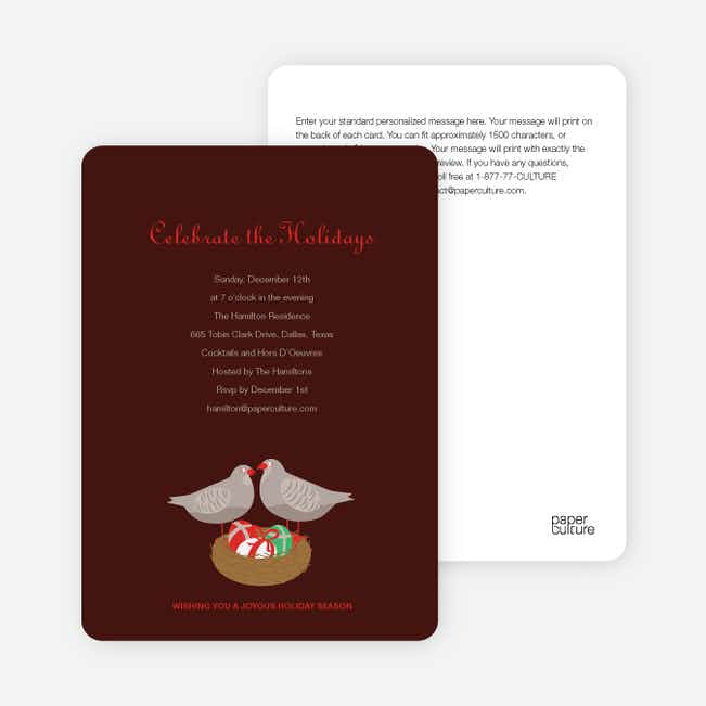Patridge in a Pear Tree Holiday Invitations - Sangria