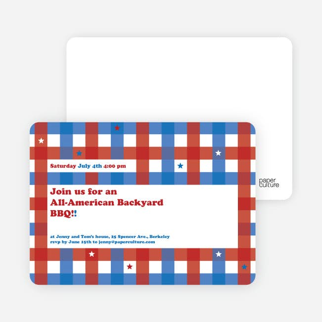 Patriotic American BBQ Party Invitations | Paper Culture on fiesta decorations ideas, pool party decorations ideas, cinco de mayo decorations ideas, graduation decorations ideas, halloween tree decorations ideas, strawberry shortcake decorations ideas, beer decorations ideas, cocktail party decorations ideas, weddings decorations ideas, birthday decorations ideas, anniversary decorations ideas,