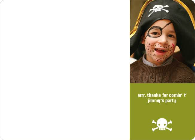 Thank You Card for Shiver Me Timbers Pirate Birthday Invitation - Olive