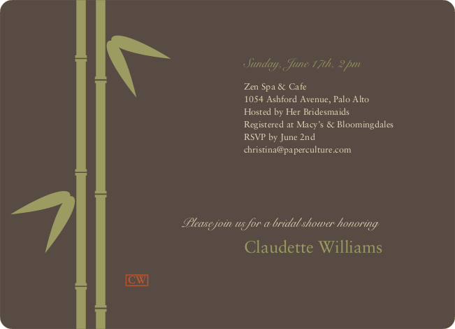 Bamboo Zen Bridal Shower Invitations - Charcoal