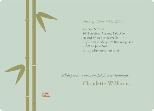 Bamboo Zen Bridal Shower Invitations - Mint Green