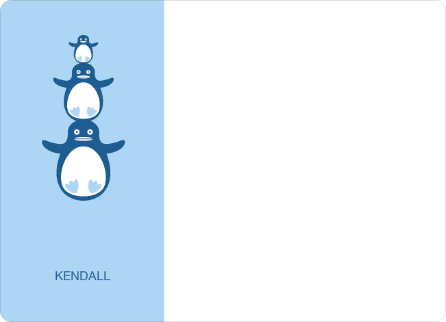 Personal Stationery for Stacked Penguin Photo Baby Announcement - Baby Blue