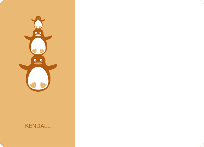 Personal Stationery for Stacked Penguin Photo Baby Announcement - Apricot
