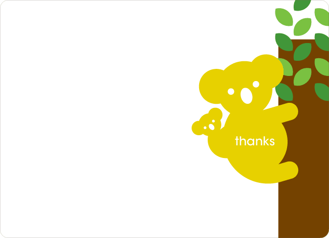 Thank You Card for Cuddly Koala Baby Shower Invitation - Daffodil