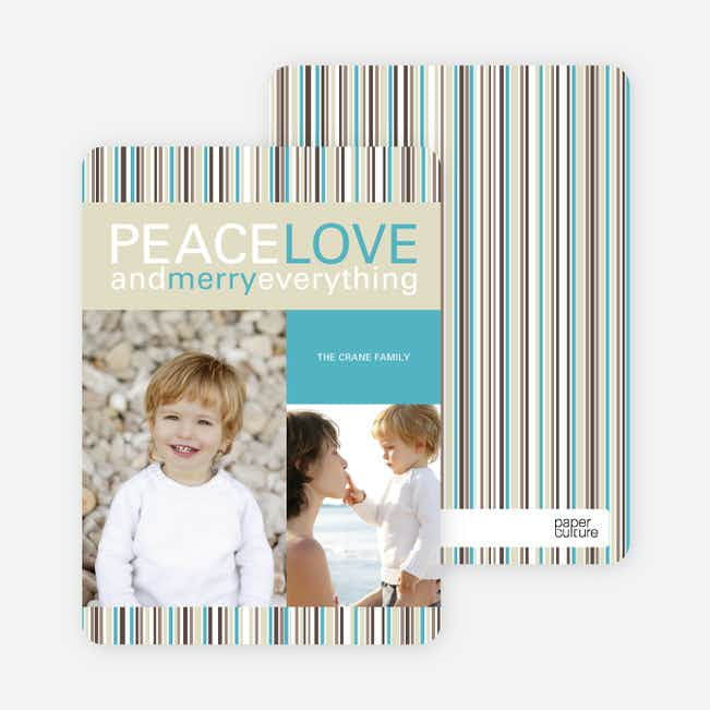 Peace Love and Merry Everything Holiday Photo Cards - Mystic Blue