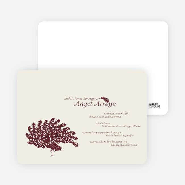 Peacock Bridal Shower Invitations - Burgundy