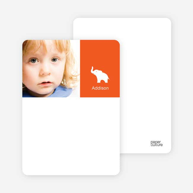 Personal Stationery for Ernie the Elephant's Modern 2nd Birthday Invitations - Persimmon