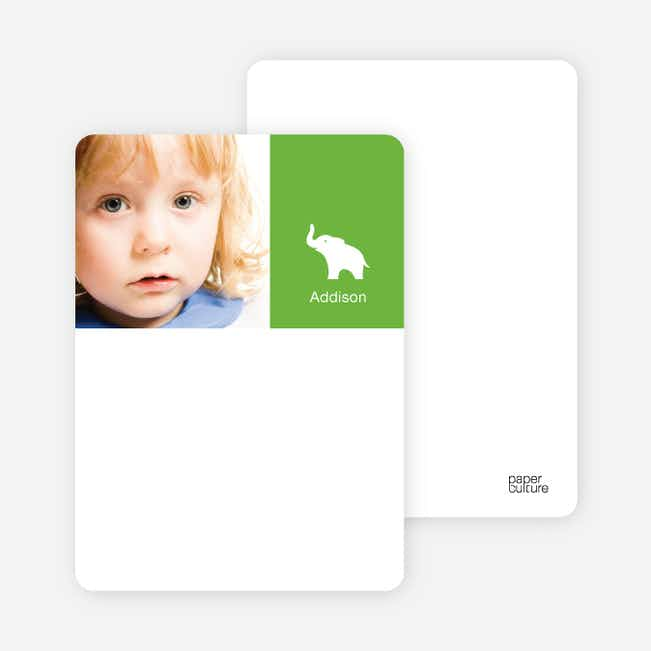 Personal Stationery for Ernie the Elephant's Modern 2nd Birthday Invitations - Apple Green