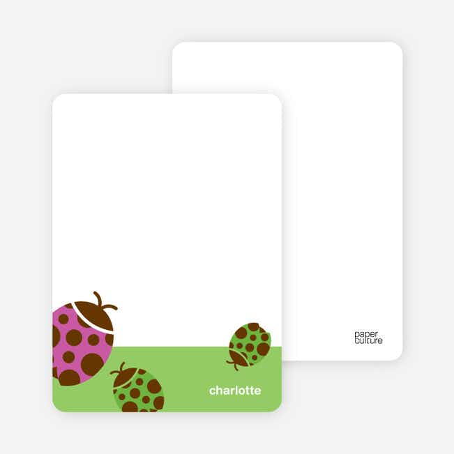 Personal Stationery for Orange Ladybug Modern Birthday Invitation - Apple Green