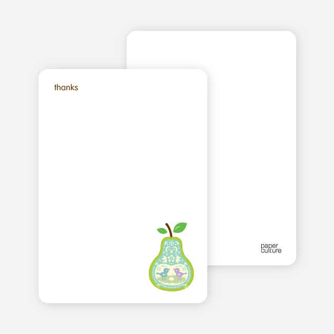 Personal Stationery for Pear Birds Modern Birthday Invitation - Aqua