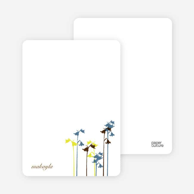 Personal Stationery for Wild Flower Invitation and Announcement - Cadet Blue