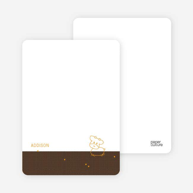 Personal Stationery for Year of the Ox Modern Baby Announcement - Espresso