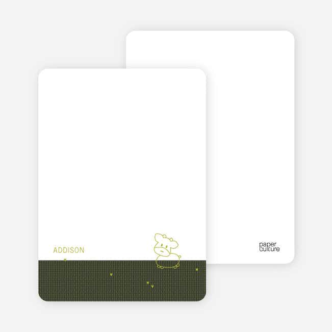 Personal Stationery for Year of the Ox Modern Baby Announcement - Khaki