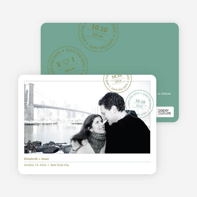 Postcard Inspired Save the Date Cards - Celadon