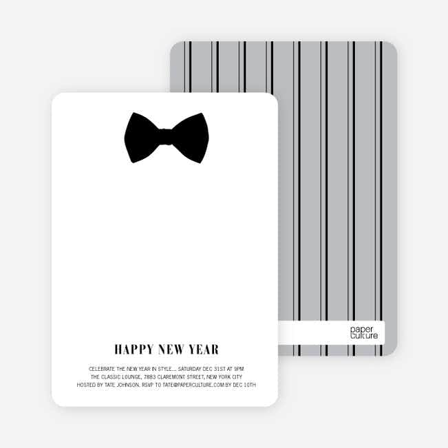Serious Bowtie Holiday Invitations - Ebony