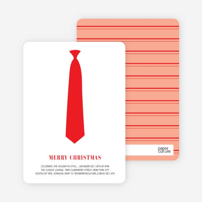 Serious Tie Holiday Invitations - Tomato Red