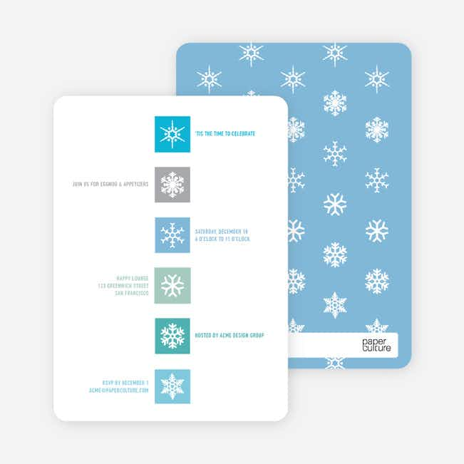 Snowflake Blocks Holiday Invitations - Cadet Blue
