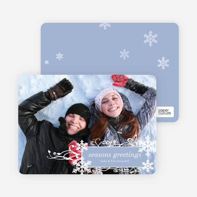 Snowflake Flourish Holiday Photo Cards - Celestial Blue