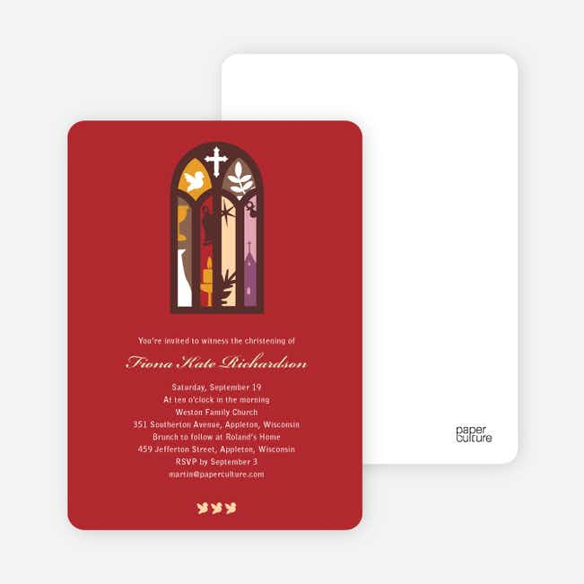 Stained Glass Christening Card - Red